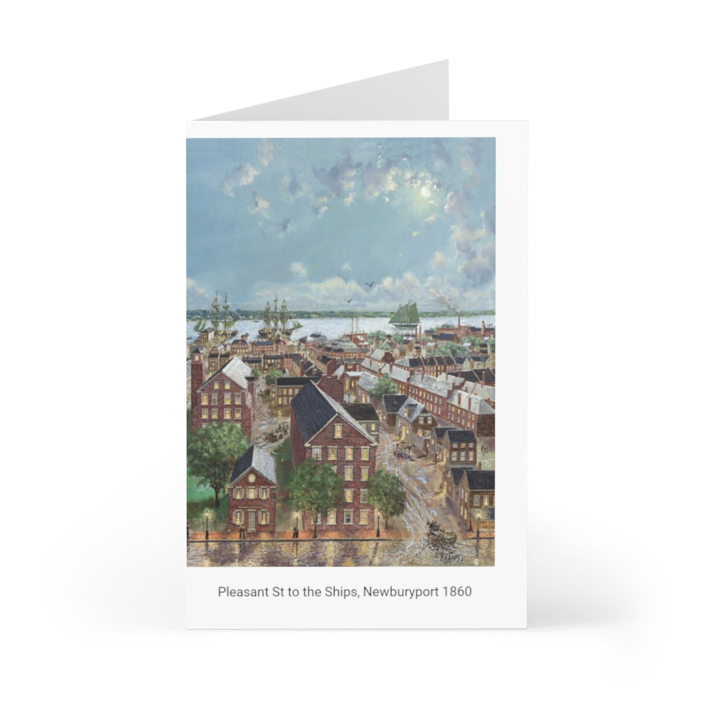 Greeting Cards (7 pcs) showing Oil Painting by Richard Burke Jones of ''Pleasant Street to the Ships, Newburyport, 1860