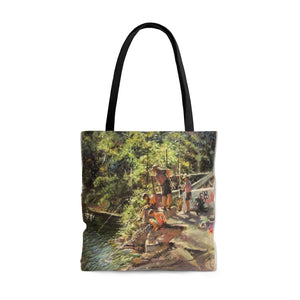 Artichoke Fishing by Richard Burke Jones - AOP Tote Bag. Fishing for Memories!
