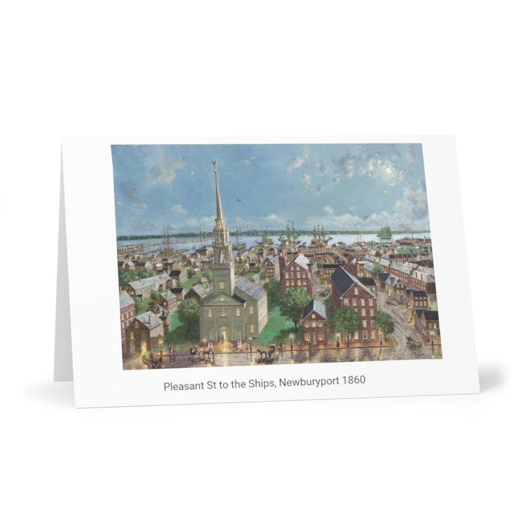 Pleasant Street Greeting Cards (horizontal)(7 pcs) showing Oil Painting by Richard Burke Jones of ''Pleasant Street to the Ships and Beyond, Newburyport, 1860