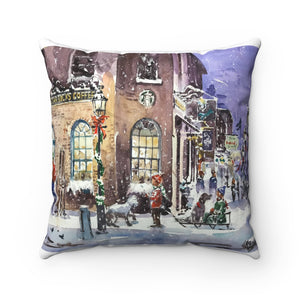 Starbucks Corner, Liberty St, Newburyport - Spun Polyester Square Pillow Cover