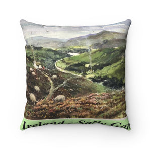 Sally Gap Square Pillow with Insert showing watercolor by Richard Burke Jones