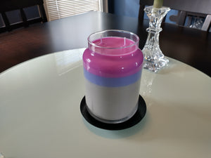 Roo's Recycled Candles - the large, grey, pink, purple one....