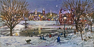 Ice Skaters at the Bartlett Mall under the lights - Giclee Print, Signed, Numbered
