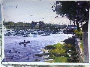 """View from Rings Island Dock""   Watercolor Painting"