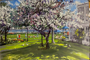 "Waterfront Park, Oil Sketch, Richard Burke Jones. 12 x 18"" unframed"