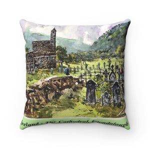The Cathedral, Glendalough, Ireland Square Pillow with Insert