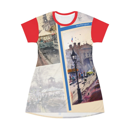 All Over Print T-Shirt Dress Showing the Cafes of Newburyport by Richard Burke Jones