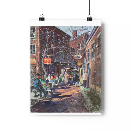 Commercial Alley Portsmouth NH Giclée Art Print by Richard Burke Jones
