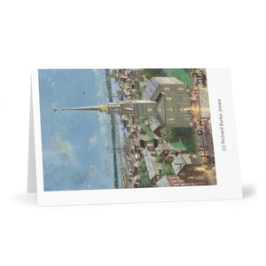 Greeting Cards (7 pcs) showing Oil Painting by Richard Burke Jones of ''Pleasant Street to the Ships, Newburyport, 1860""