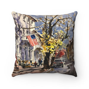 Spun Polyester Square Pillow Showing Watercolor of Beck St in the Early Morning, Fall Light