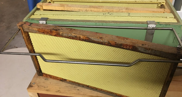 Frame Perch will hold frames at any angle without falling by Little Mule Bee Supply