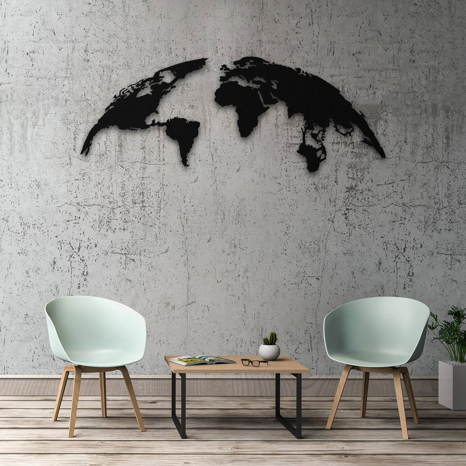 The Globe - Metal Wall Map