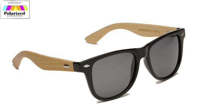 Harrison Polarized Sunglasses With Bamboo Temples