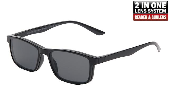 Magnetic Black - Reading Glasses with Removable Sunglass