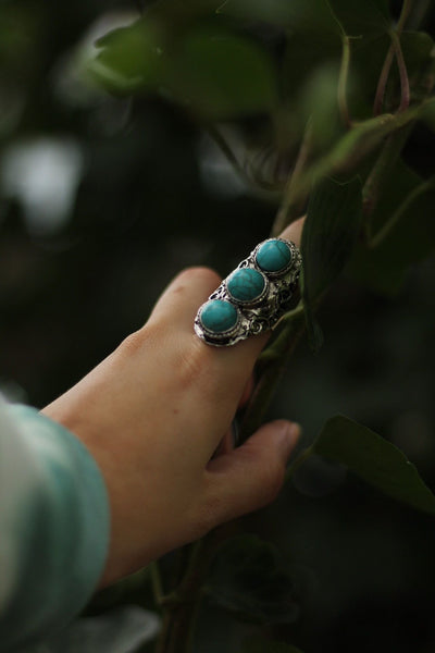 Three Tier Turquoise Ring - Atomic Wildflower