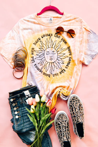 Here Comes The Sun Tie Dye Tee - Atomic Wildflower