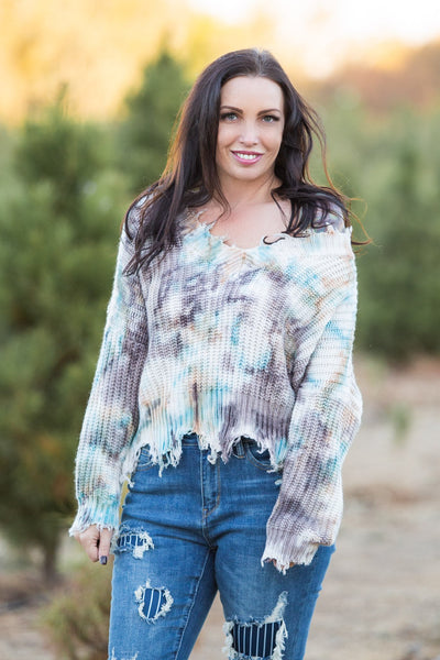 Chocolate Truffles Frayed Sweater - Atomic Wildflower