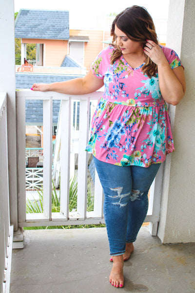 Dreamy Floral Babydoll Top - Atomic Wildflower