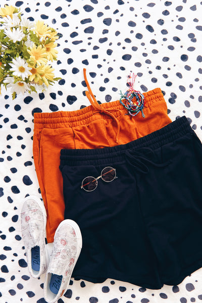 French Terry Shorts In Black - Atomic Wildflower