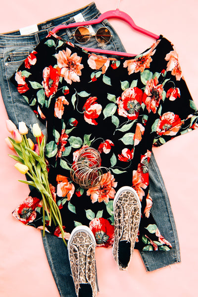 Come My Way Floral Boxy Top - Atomic Wildflower