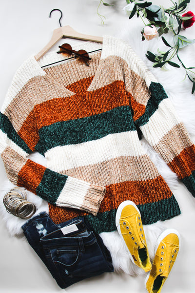 Fall With Us Striped Chenille Sweater - Atomic Wildflower