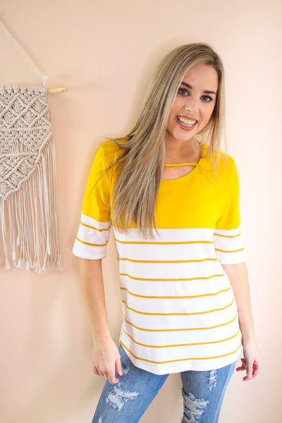 A Little Thing Called Love Stripe Cutout Top - Atomic Wildflower
