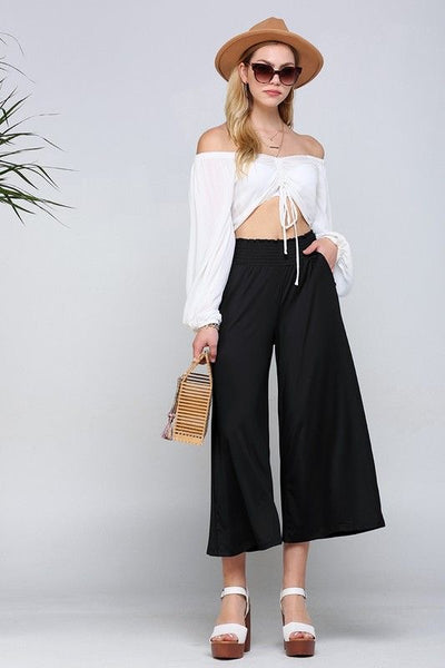 Smocked Cropped Pants In Black - Atomic Wildflower
