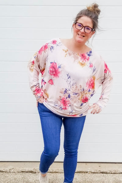 Sweet Caroline Dolman Sleeve Top - Atomic Wildflower