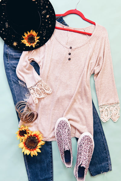 Cuffed With Love 3/4 Sleeve Top in Oatmeal - Atomic Wildflower