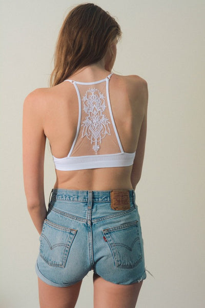 White Tattoo Bralette - Atomic Wildflower