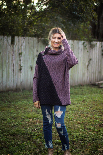 Double Take Cowl Neck Top - Atomic Wildflower