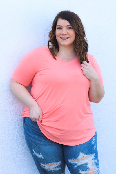 Favorite Basics V Neck Tee In Coral - Atomic Wildflower