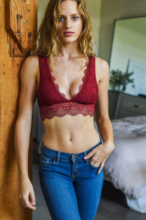Burgundy Plunge Alencon Lace Bralette - Atomic Wildflower