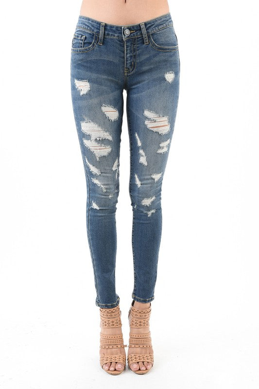 Monica Extra Distressed Skinny Jeans - Atomic Wildflower