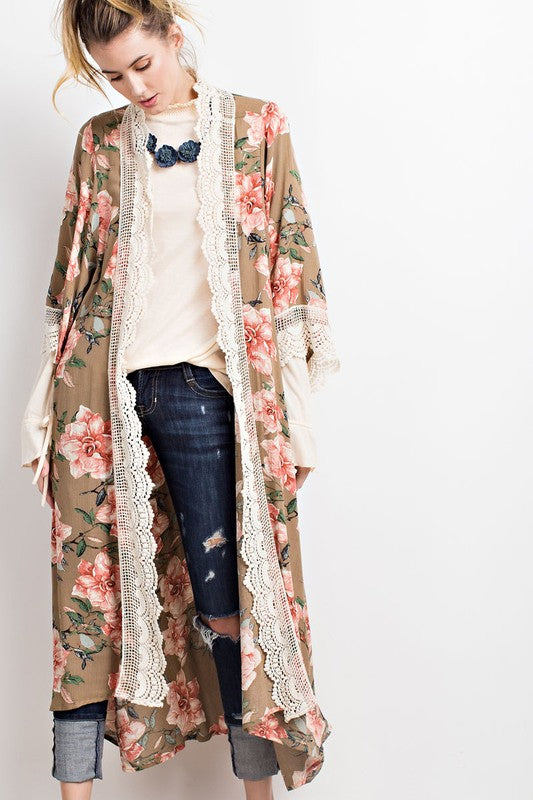 Faded Olive Boho Floral Maxi Cardigan - Atomic Wildflower