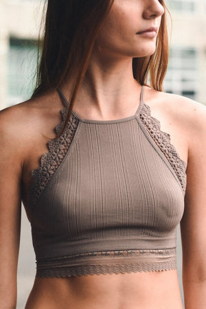 Mocha Bellatrix High Neck Bralette - Atomic Wildflower