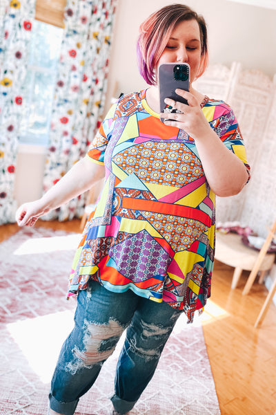 Mixed Media Tunic Top - Atomic Wildflower