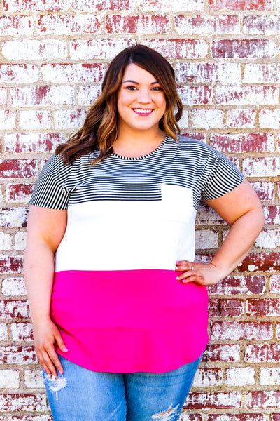 In Perfect Harmony Colorblock Top - Atomic Wildflower