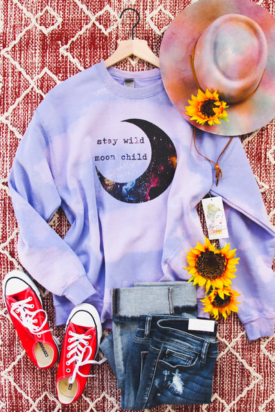 Stay Wild Moon Child Bleached Sweatshirt - Atomic Wildflower