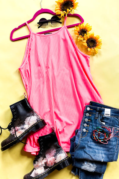 Forever Pink Ribbed Tank - Atomic Wildflower