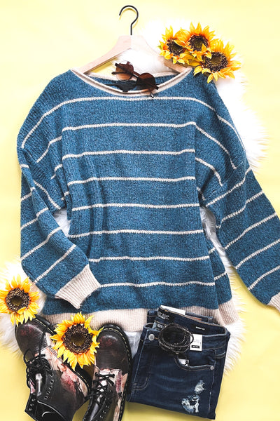 Ribbed and Striped Sweater in Teal - Atomic Wildflower