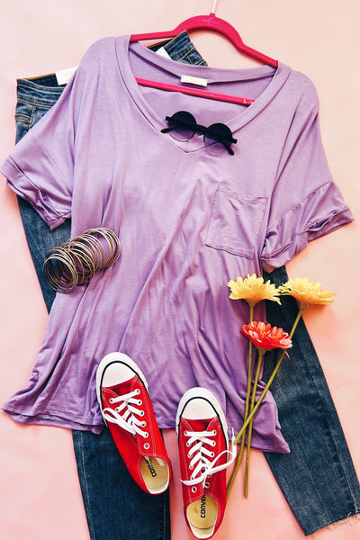 My Everything Short Sleeve Top in Lavender - Atomic Wildflower