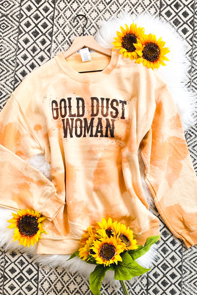 Gold Dust Woman Bleached Sweatshirt - Atomic Wildflower