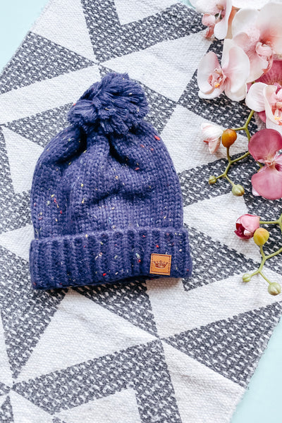 Casual Confetti Fleece Lined Hat • Navy - Atomic Wildflower