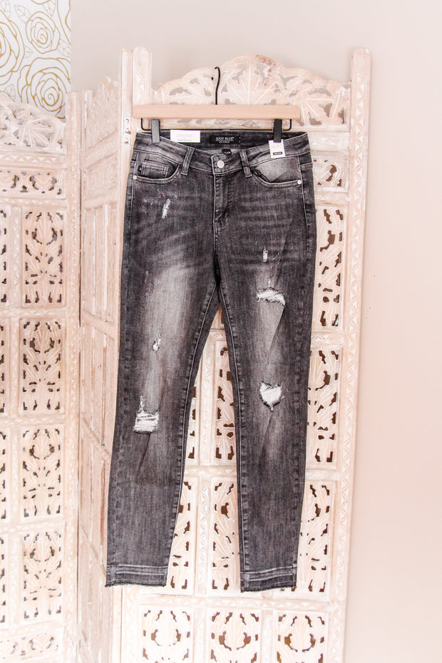 Judy Blue Distressed Grey Skinny Jeans - Atomic Wildflower