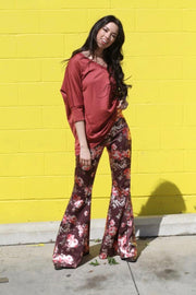 Pleasantly Plum Floral Metallic Bell Bottoms - Atomic Wildflower