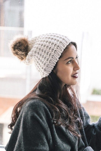 Rachel Beanie - Ivory - Atomic Wildflower
