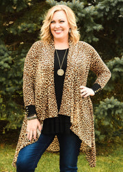 Leopard Cascade Cardigan - Atomic Wildflower