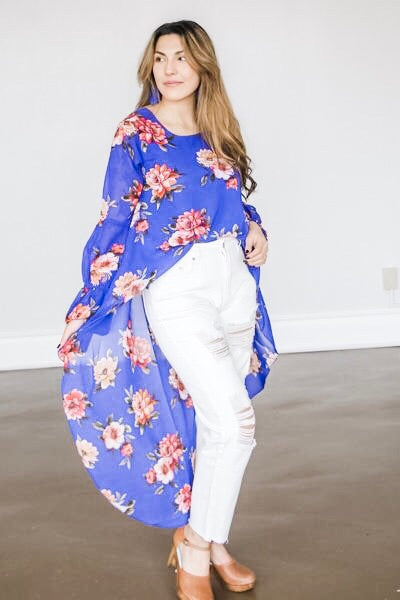 Briar Bubble Sleeve Hi Lo Top in Blue Floral - Atomic Wildflower