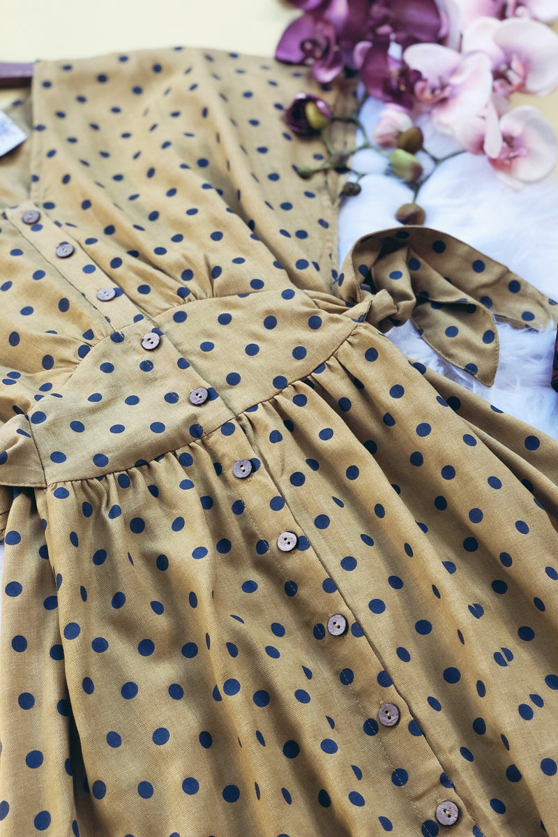 Yellow Polka Dotted Midi Dress - Atomic Wildflower